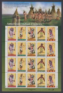 USA Michel 2730-2734 / Scott 3072-3076 postfrisch BOGEN(20) - Indianische Tänze