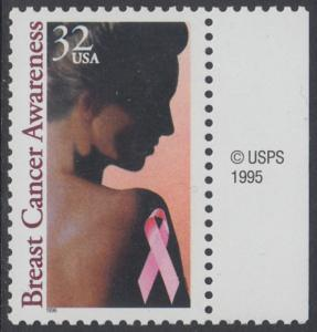 USA Michel 2739 / Scott 3081 postfrisch EINZELMARKE RAND rechts m/ copyright symbol - Gesundheitsvorsorge gegen Brustkrebs