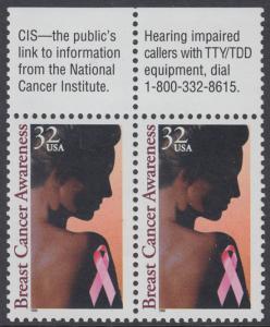 USA Michel 2739 / Scott 3081 postfrisch horiz.PAAR RÄNDER oben - Gesundheitsvorsorge gegen Brustkrebs