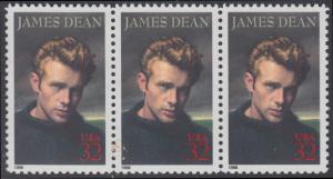 USA Michel 2745 / Scott 3082 postfrisch horiz.STRIP(3) - Hollywood-Legenden: James Dean (1931-1955), Filmschauspieler