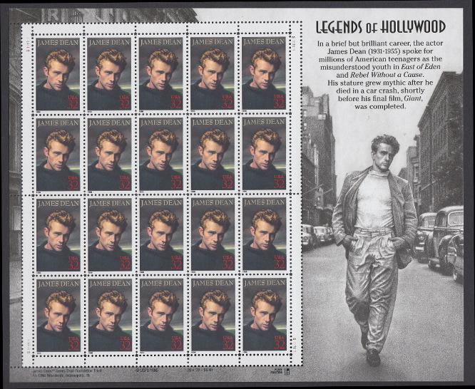 USA Michel 2745 / Scott 3082 postfrisch BOGEN(20) - Hollywood-Legenden: James Dean (1931-1955), Filmschauspieler 0