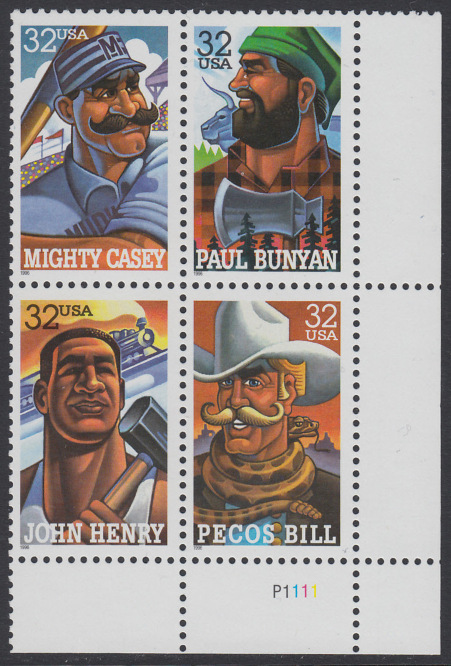 USA Michel 2746-2749 / Scott 3083-3086 postfrisch PLATEBLOCK ECKRAND unten rechts m/ Platten-# P1111 (a) - Volkstümliche Heldenfiguren 0