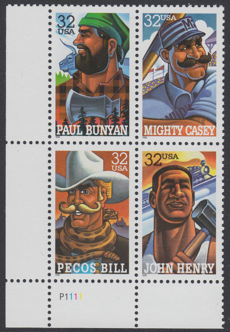 USA Michel 2746-2749 / Scott 3083-3086 postfrisch PLATEBLOCK ECKRAND unten links m/ Platten-# P1111 (b) - Volkstümliche Heldenfiguren 0