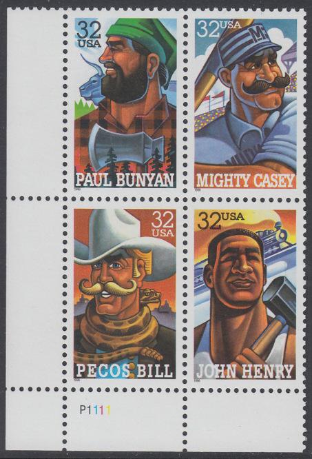 USA Michel 2746-2749 / Scott 3083-3086 postfrisch PLATEBLOCK ECKRAND unten links m/ Platten-# P1111 (a) - Volkstümliche Heldenfiguren 0