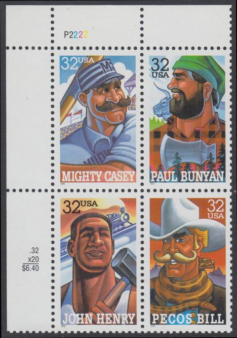 USA Michel 2746-2749 / Scott 3083-3086 postfrisch PLATEBLOCK ECKRAND oben links m/ Platten-# P2222 (b) - Volkstümliche Heldenfiguren 0