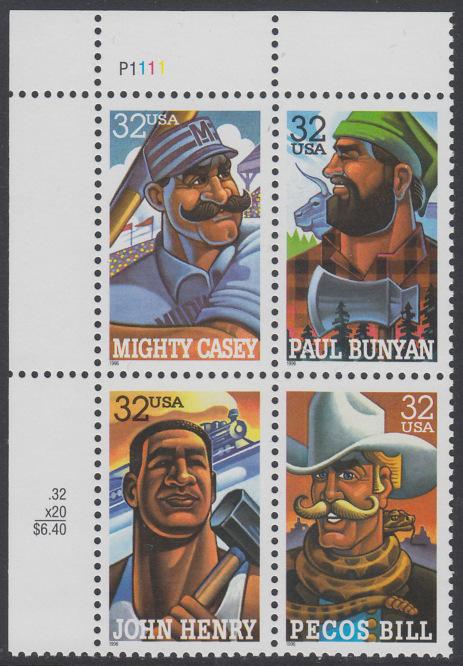 USA Michel 2746-2749 / Scott 3083-3086 postfrisch PLATEBLOCK ECKRAND oben links m/ Platten-# P1111 (a) - Volkstümliche Heldenfiguren 0