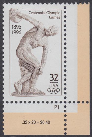 USA Michel 2750 / Scott 3087 postfrisch EINZELMARKE ECKRAND unten rechts m/ Platten-# P1 - 100 Jahre Olympische Spiele der Neuzeit; Olympische Sommerspiele, Atlanta 0