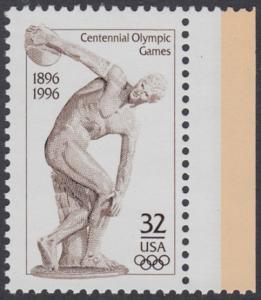 USA Michel 2750 / Scott 3087 postfrisch EINZELMARKE RAND rechts - 100 Jahre Olympische Spiele der Neuzeit; Olympische Sommerspiele, Atlanta