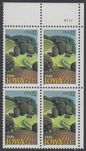 USA Michel 2751 / Scott 3088 postfrisch PLATEBLOCK ECKRAND oben rechts m/ Platten-# P1111 - 150 Jahre Staat lowa; Landschaft in Iowa