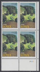 USA Michel 2751 / Scott 3088 postfrisch PLATEBLOCK ECKRAND unten rechts m/ Platten-# P1111 - 150 Jahre Staat lowa; Landschaft in Iowa