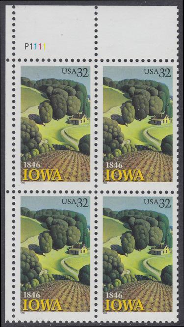 USA Michel 2751 / Scott 3088 postfrisch PLATEBLOCK ECKRAND oben links m/ Platten-# P1111 - 150 Jahre Staat lowa; Landschaft in Iowa 0