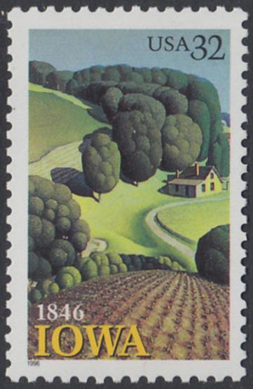 USA Michel 2751 / Scott 3088 postfrisch EINZELMARKE - 150 Jahre Staat lowa; Landschaft in Iowa 0