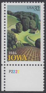 USA Michel 2751 / Scott 3088 postfrisch EINZELMARKE ECKRAND unten links m/ Platten-# P2222 - 150 Jahre Staat lowa; Landschaft in Iowa