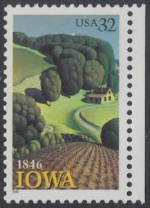 USA Michel 2751 / Scott 3088 postfrisch EINZELMARKE RAND rechts - 150 Jahre Staat lowa; Landschaft in Iowa