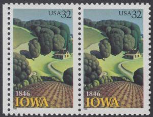USA Michel 2751 / Scott 3088 postfrisch horiz.PAAR RAND links - 150 Jahre Staat lowa; Landschaft in Iowa