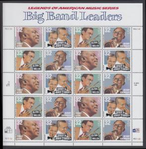 USA Michel 2760-2763 / Scott 3096-3099 postfrisch BOGEN(20)  - Amerikanische Musikgeschichte: Leiter von Big Bands