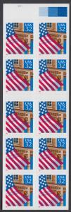 USA Michel 2726 / Scott 2921a postfrisch Markenheftchenblatt(10)  (a2) - Flagge vor  Hausfassade