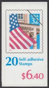 USA Michel 2726 / Scott 2921a postfrisch Markenheftchen(20) - Flagge vor  Hausfassade