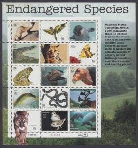 USA Michel 2769-2783 / Scott 3105 postfrisch BOGEN(15) (a) - Gefährdete Tierarten