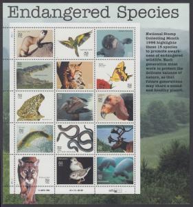 USA Michel 2769-2783 / Scott 3105 postfrisch BOGEN(15) (b) - Gefährdete Tierarten