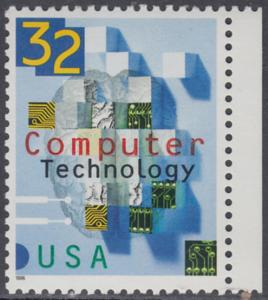 USA Michel 2784 / Scott 3106 postfrisch EINZELMARKE RAND rechts - 50 Jahre Computertechnologie in den USA: Teile von Schaltkreisen