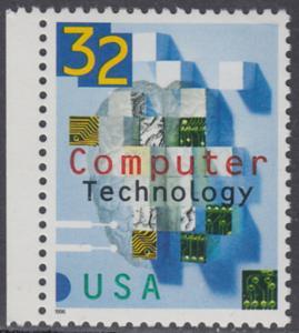 USA Michel 2784 / Scott 3106 postfrisch EINZELMARKE RAND links - 50 Jahre Computertechnologie in den USA: Teile von Schaltkreisen