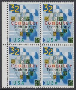USA Michel 2784 / Scott 3106 postfrisch BLOCK RÄNDER links - 50 Jahre Computertechnologie in den USA: Teile von Schaltkreisen