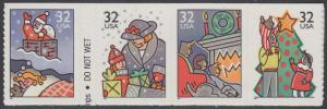 USA Michel 2789-2792 / Scott 3114-3116 postfrisch STRIP(4) - Weihnachten