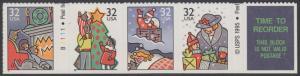 USA Michel 2789-2792 / Scott 3114-3116 postfrisch STRIP(4) m/ Platten-# & Labelfeld - Weihnachten