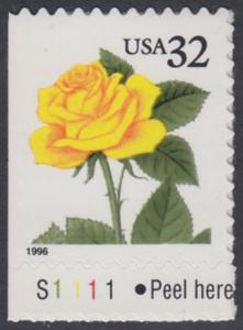 USA Michel 2795 / Scott 3049 postfrisch EINZELMARKE RAND unten m/ Platten-# S1111 - Blumen: Rose