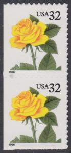 USA Michel 2795 / Scott 3049 postfrisch vert.PAAR - Blumen: Rose