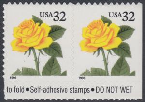 USA Michel 2795 / Scott 3049 postfrisch horiz.PAAR RÄNDER oben - Blumen: Rose