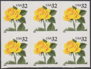 USA Michel 2795 / Scott 3049 postfrisch horiz.BLOCK(6) - Blumen: Rose