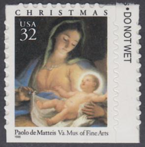 USA Michel 2799 / Scott 3112 postfrisch EINZELMARKE RAND rechts - Weihnachten: Maria mit Kind