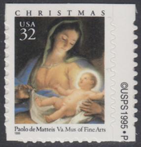 USA Michel 2799 / Scott 3112 postfrisch EINZELMARKE RAND rechts m/ copyright symbol - Weihnachten: Maria mit Kind