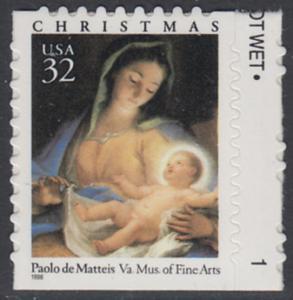 USA Michel 2799 / Scott 3112 postfrisch EINZELMARKE RAND rechts m/ Platten-# 1 - Weihnachten: Maria mit Kind