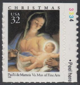 USA Michel 2799 / Scott 3112 postfrisch EINZELMARKE RAND rechts m/ Platten-# 3334 - Weihnachten: Maria mit Kind