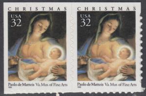 USA Michel 2799 / Scott 3112 postfrisch horiz.PAAR - Weihnachten: Maria mit Kind