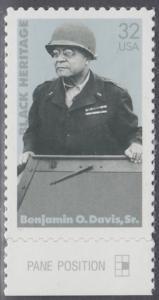 USA Michel 2801 / Scott 3121 postfrisch EINZELMARKE RAND unten - Schwarzamerikanisches Erbe: Benjamin O. Davis, Sr., General