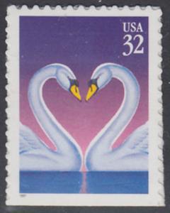 USA Michel 2803 / Scott 3123 postfrisch EINZELMARKE (von Folioblatt) - Grußmarke, Schwanenpaar