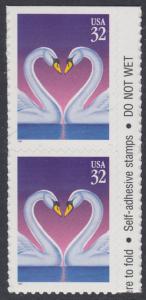 USA Michel 2803 / Scott 3123 postfrisch vert.PAAR RAND rechts (a1) (von Folioblatt) - Grußmarke, Schwanenpaar