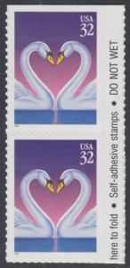 USA Michel 2803 / Scott 3123 postfrisch vert.PAAR RAND rechts (a2) (von Folioblatt) - Grußmarke, Schwanenpaar
