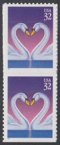 USA Michel 2803 / Scott 3123 postfrisch vert.PAAR (von Folioblatt) - Grußmarke, Schwanenpaar