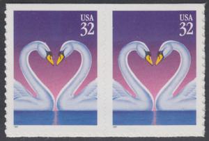 USA Michel 2803 / Scott 3123 postfrisch horiz.PAAR (von Folioblatt) - Grußmarke, Schwanenpaar