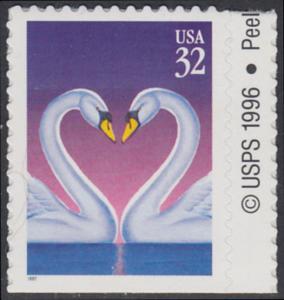 USA Michel 2803 / Scott 3123 postfrisch EINZELMARKE RAND rechts m/ copyright symbol (von Folioblatt) - Grußmarke, Schwanenpaar