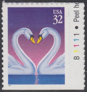 USA Michel 2803 / Scott 3123 postfrisch EINZELMARKE RAND rechts m/ Platten-# B1111 (von Folioblatt) - Grußmarke, Schwanenpaar