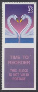 USA Michel 2803 / Scott 3123 postfrisch EINZELMARKE RAND unten m/ Label-Feld (von Folioblatt) - Grußmarke, Schwanenpaar