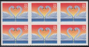 USA Michel 2804 / Scott 3124 postfrisch horiz.BLOCK(6) (von Folioblatt) - Grußmarke, Schwanenpaar