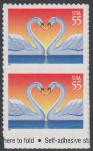 USA Michel 2804 / Scott 3124 postfrisch vert.PAAR RAND unten (a1) (von Folioblatt) - Grußmarke, Schwanenpaar