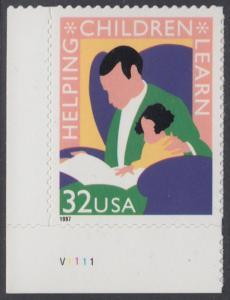 USA Michel 2805 / Scott 3125 postfrisch EINZELMARKE ECKRAND unten links m/ Platten-# V1111 - Lernförderung für Kinder